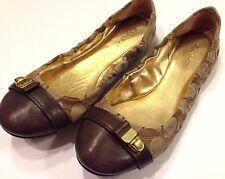 COACH Shoes Delphine Q1718 Ballet FLATS sz. 6 Signature Khaki/Brown LEATHER CAP
