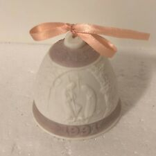 Pink White Lladro Christmas Bell Ornament 1991 Porcelain Nativity Bethlehem Xmas