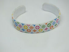 "Cute Cuff Bracelet White Plastic Colorful Design 1/2"" Wide by 2 1/4"" Across"
