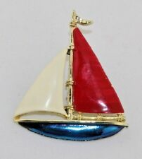 """Vintage GERRY'S Red White Blue Enamel Gold Tone Sailboat Pin Brooch 2"""" x 2 1/4"""""""