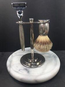 The Art of Shaving TAOS Safety Razor Set W/Stand & Badger Brush Engraved Nickel