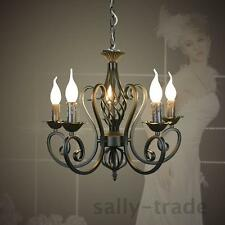 Modern Vintage 5 Arms Classical Iron Matt Black With Candle Light Chandelier