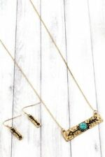 Cowgirl Western Gold Arrow Bar Necklace Earring Set Faux Turquoise Horizontal