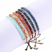 Fashion Crystal Hand-woven Adjustable Women Lucky Bracelet Bangle Jewelry Gifts