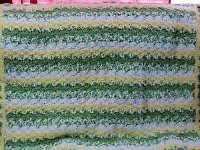 New! Handmade Crochet Blanket Throw Afghan  - White, Green, Yellow