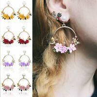 Sweet Crystal Flower Pearl Earrings Women Gold Circle Drop Dangle Ear Stud Gifts