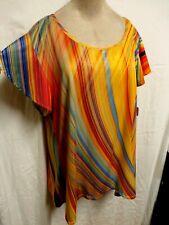 Azalea Plus Size 3X Yellow, Coral, Blue Short Flutter Sleeved Knit Tunic Blouse