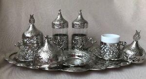 Turkish Coffee Water Tea Mix Set, Porcelain Glass Ottoman Tulip Holder Silver