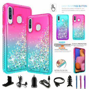 For Samsung Galaxy A20S / A10S Liquid Glitter Bling Protective Hybrid Case Cover