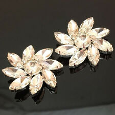 1x Silver Sew On Clear Rhinestone Flowers Buttons Bridal Appliques Sash