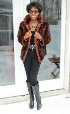 Unique Designer Genuine Marten sable Fur bolero Coat jacket stroller S-M 2-10
