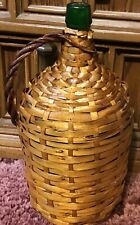 """Antique Country French Wicker Wrapped Glass Wine 14"""" Tall & 6 1/2"""" Wide Jug"""