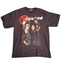 Vintage Tokio Hotel Single Stitch Emo Glam Rock Graphic Print Tshirt Size L