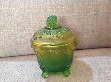 Vintage Jeanette Green Grape Pattern Candy Dish