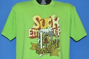 vintage 70s SUCK EM UP HAWAIIAN STYLE PRIMO BEER STONEMAN 1977 FUNNY t-shirt L
