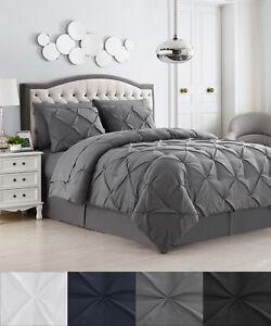 8 Piece Bed In A Bag Pintuck Comforter Sheet Bed Skirt Sham Set