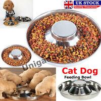 Feeder Bowl Stainless Dish Puppy Dog Pet Cat Litter Food Feeding Weaning UK