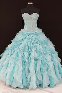 Mary's Gown Quincenera XV Wedding Sweet Sixteens Prom Dress 4Q942 blue/nude 2