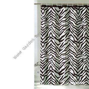 "Black White ZEBRA Animal Print Thin Vinyl Shower Curtain 72""x72 With Grommets"