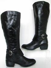 NEW BERTIE SIZE 3 WOMENS BLACK LEATHER KNEE HIGH BIKER BOOTS HEELS ZIPS STRAPS