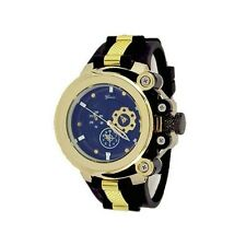 Gold Black Fashion Mens Designer Geneva Silicone Sports Band Watch Oversized