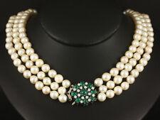 3-reihiges Perlen Brillant Smaragd Collier ca. 3,64ct    750/- Weißgold