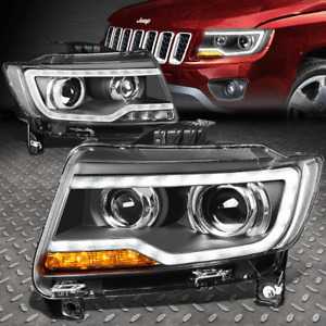 FOR 11-17 JEEP COMPASS MK LED DRL DUAL PROJECTOR HALOGEN HEADLIGHTS BLACK PAIR