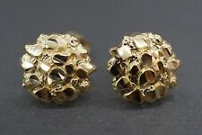 Diamond Cut Round Nugget Stud Earrings. Real 10K Solid Yellow Gold 10Mm