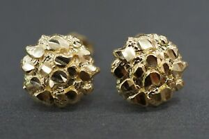 Real 10K Solid Yellow Gold 10MM Diamond Cut Round Nugget Stud Earrings.