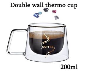 Nespresso coffee mug espresso cup thermal glass double wall 200ml lungo mugs