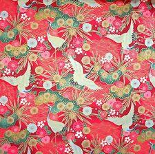 Japanese  Fabric 100% Cotton Crane Floral Red Per Half Metre 50cm TG123