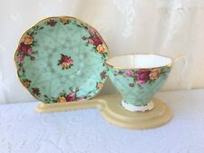 """Royal Albert Old Country Roses """"Peppermint Damask"""" Bone China tea cup&saucer 10"""