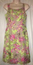 Banana Republic Dress Size 4 Pink Lime Green Floral Sundress Silk Blend NWT $130