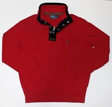 New $125 Ralph Lauren Red Cotton Half Zip Snap Pullover / Large