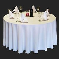 """1 to 50 PACK White 120/"""" inch ROUND Tablecloth Polyester 5/' Feet Table Cover"""