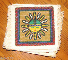 "Coasters Set of 6 absorbant cotton Native American Sunface   6x6"" Fringed  #2"