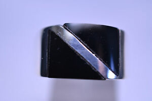 NEW MEN'S STERLING SILVER BLACK ONYX RING WITH DIAGONAL LINE SCUBA FLAG DESIGN