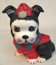 Vintage Puppy In Doggy Sweater Stocking Hat Planter  Figurine Dog Fur Japan. B2