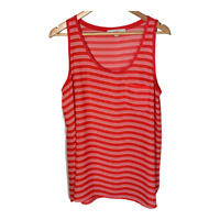 Ann Taylor Loft Womens Scoop Neck Sleeveless Top Striped Shell Shirt Size Large