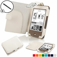 Forefront Cases® White Leather Smart Case Cover with Light Tolino Page Stylus