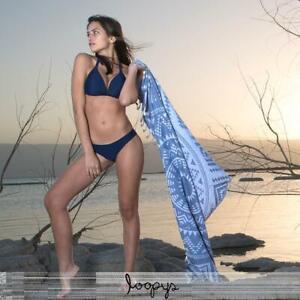 Premium Denim Blue Loopys Cotton Turkish Beach Pool Bath Towel Hammam Fouta