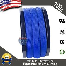 """100 FT 3/4"""" Blue Expandable Wire Cable Sleeving Sheathing Braided Loom Tubing US"""