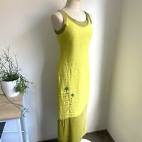 Bleu Blanc Rouge 8 Sheath Dress Yellow Linen Rayon Silk Embroidered France