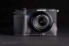 Handmade Genunie real Leather Half Camera Case bag for Samsung EX2F ( Black )