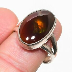 Mexican Fire Agate Handmade 925 Solid Sterling Silver Jewelry Ring Size 9