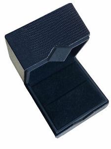 Navy Blue classic Diamond Range leather ring box Perfect proposal Box