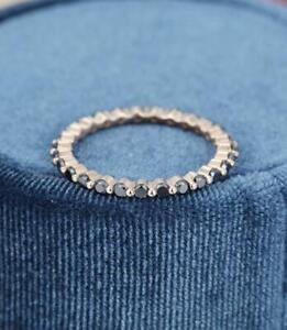 0.60 Carat Round Black Diamond Full Eternity Wedding Ring 14K Rose Gold Plated