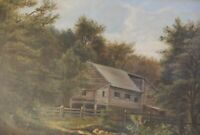Charles Morris Young, Antique Oil On Canvas Landscape in Ornate Gold Frame 15x13