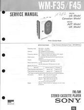 Sony original Service Manual para WM-f 35/F 45