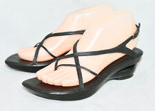DONALD J PLINER Choe Wo's 7.5N Black Leather Slngback Wedge Sandals